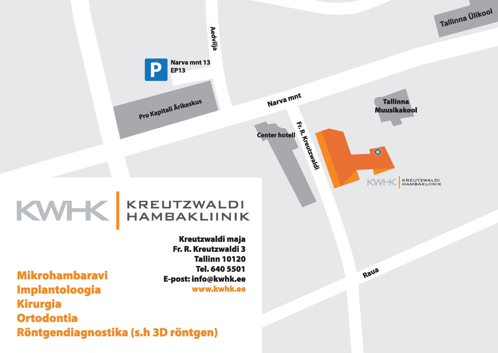 Kreutzwaldi Hambakliiniku asukoha kaart